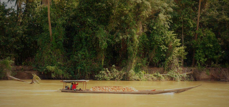 Łódź transportująca drewno na Don Det